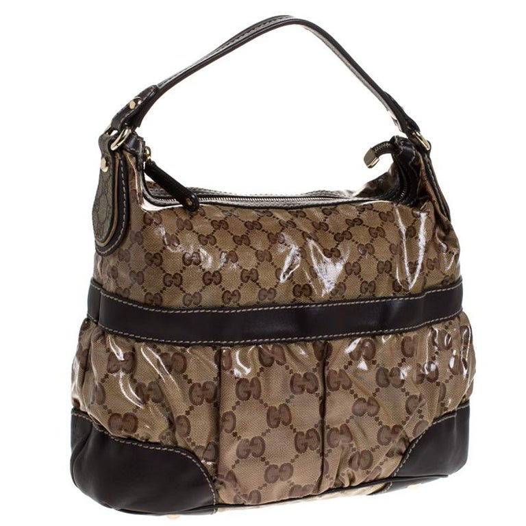 Gucci Beige/Brown GG Crystal Coated Canvas and Leather Mix Hobo In Good Condition For Sale In Dubai, Al Qouz 2