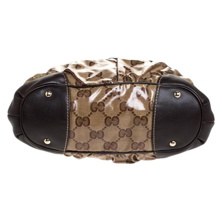 Women's Gucci Beige/Brown GG Crystal Coated Canvas and Leather Mix Hobo For Sale