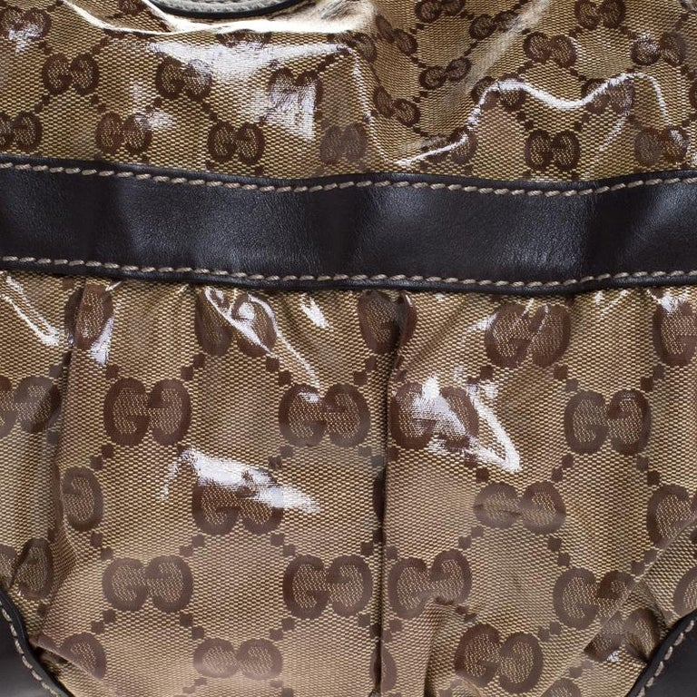 Gucci Beige/Brown GG Crystal Coated Canvas and Leather Mix Hobo For Sale 1