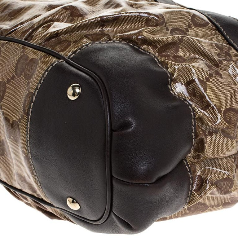 Gucci Beige/Brown GG Crystal Coated Canvas and Leather Mix Hobo For Sale 4