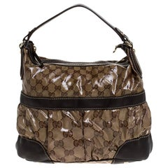 Gucci Beige/Brown GG Crystal Coated Canvas and Leather Mix Hobo