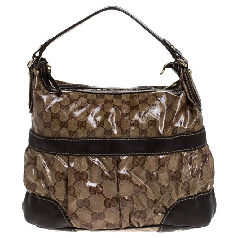 Gucci Beige/Brown GG Crystal Coated Canvas and Leather Mix Hobo For Sale