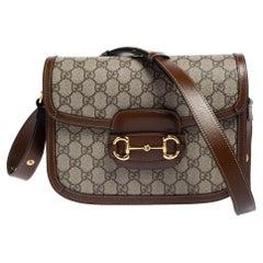 Gucci Beige/Brown GG Supreme Canvas and Leather 1955 Horsebit Shoulder Bag