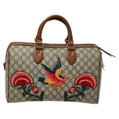 Gucci Beige/Brown GG Supreme Canvas and Leather Limited Edition Boston Bag