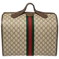 Gucci Beige/Brown GG Supreme Canvas and Leather Ophidia Duffel Bag