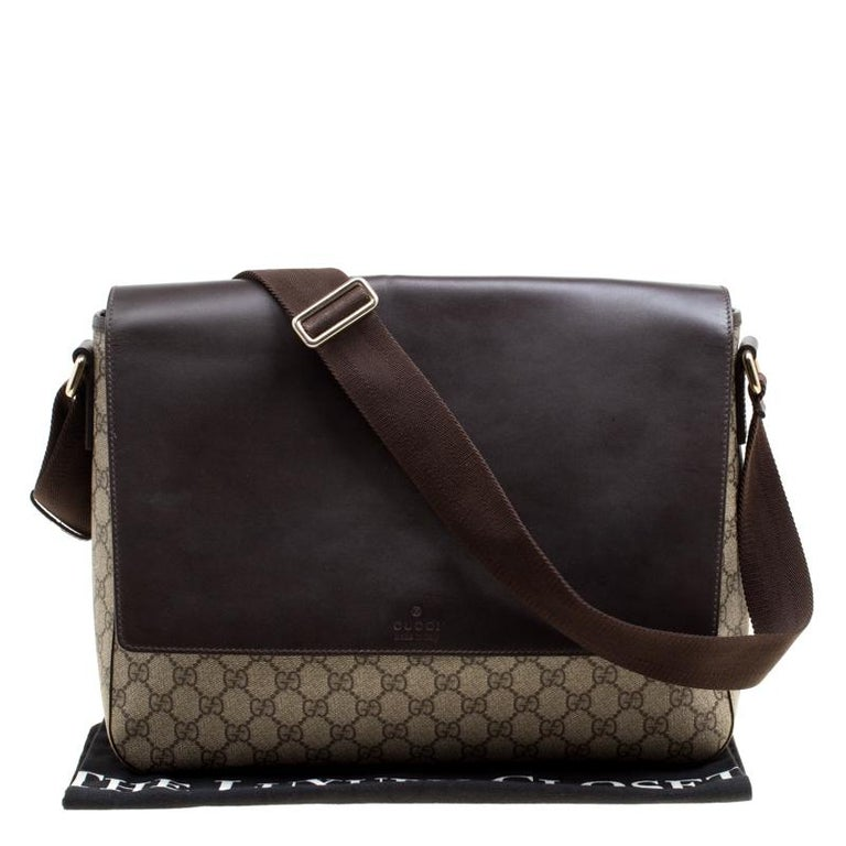 Gucci Beige/Brown GG Surpreme Canvas and Leather Messenger Bag For Sale 7