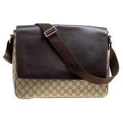 Gucci Beige/Brown GG Surpreme Canvas and Leather Messenger Bag