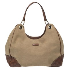 Gucci Beige/Brown Guccissima Leather And Canvas Hobo Bag