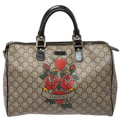 Gucci Beige/Brown Heart Tattoo GG Supreme Canvas Medium Joy Boston Bag