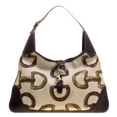 Gucci Beige/Brown Horsebit Printed Canvas and Leather Amalfi Hobo