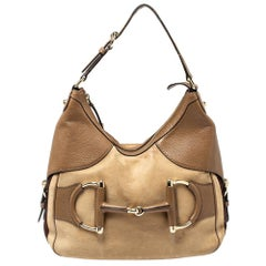 Gucci Beige/Brown Leather Medium Web Horsebit Heritage Hobo
