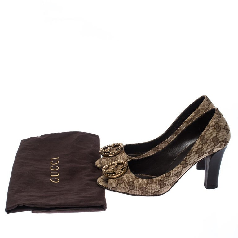Gucci Beige/Brown Monogram Canvas GG Peep Toe Pumps Size 38 4