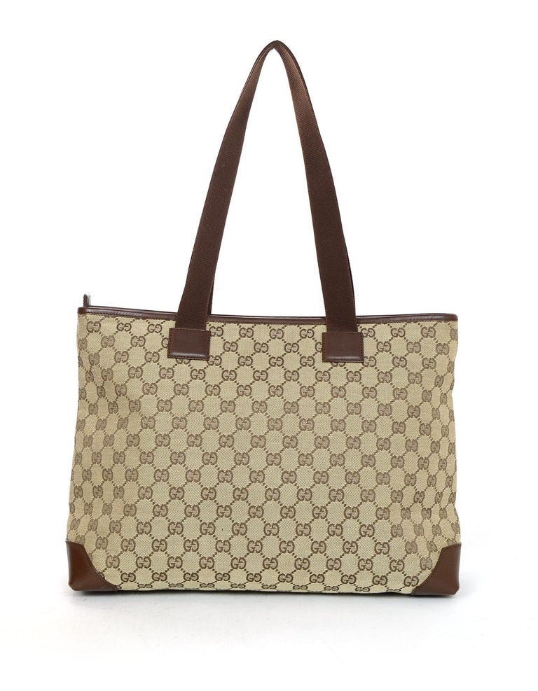 Gucci Beige/Brown Monogram Canvas/Leather Zip Top Tote Bag W/ DB In Excellent Condition For Sale In New York, NY