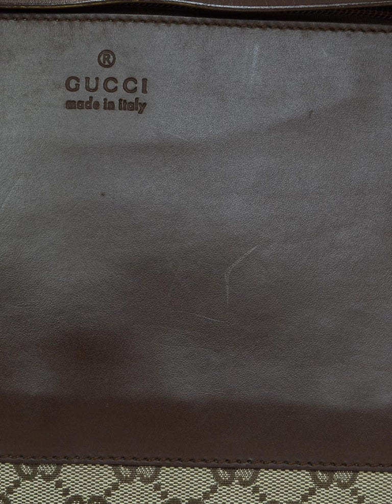 Gucci Beige/Brown Monogram Canvas/Leather Zip Top Tote Bag W/ DB For Sale 3