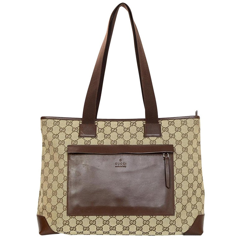 Gucci Beige/Brown Monogram Canvas/Leather Zip Top Tote Bag W/ DB For Sale