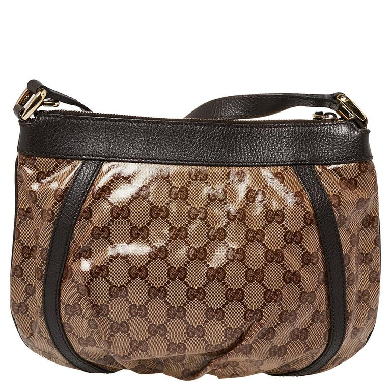 Women's Gucci Beige/Brown Patent Leather and Leather Abbey D-Ring Crossbody Bag For Sale