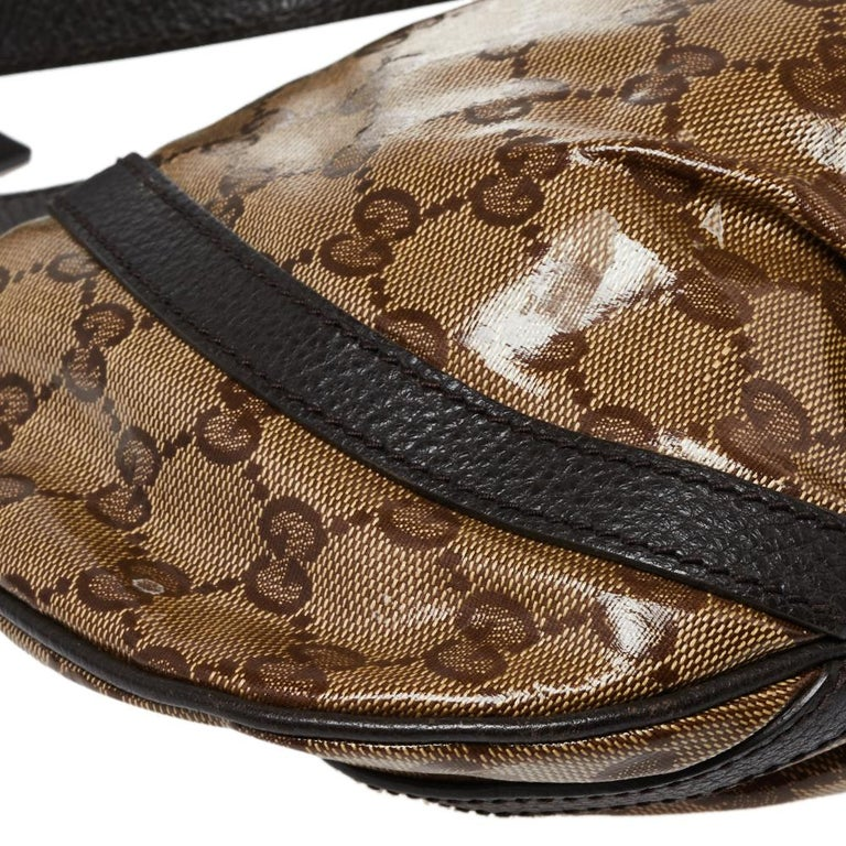 Gucci Beige/Brown Patent Leather and Leather Abbey D-Ring Crossbody Bag For Sale 5