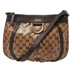 Gucci Beige/Brown Patent Leather and Leather Abbey D-Ring Crossbody Bag