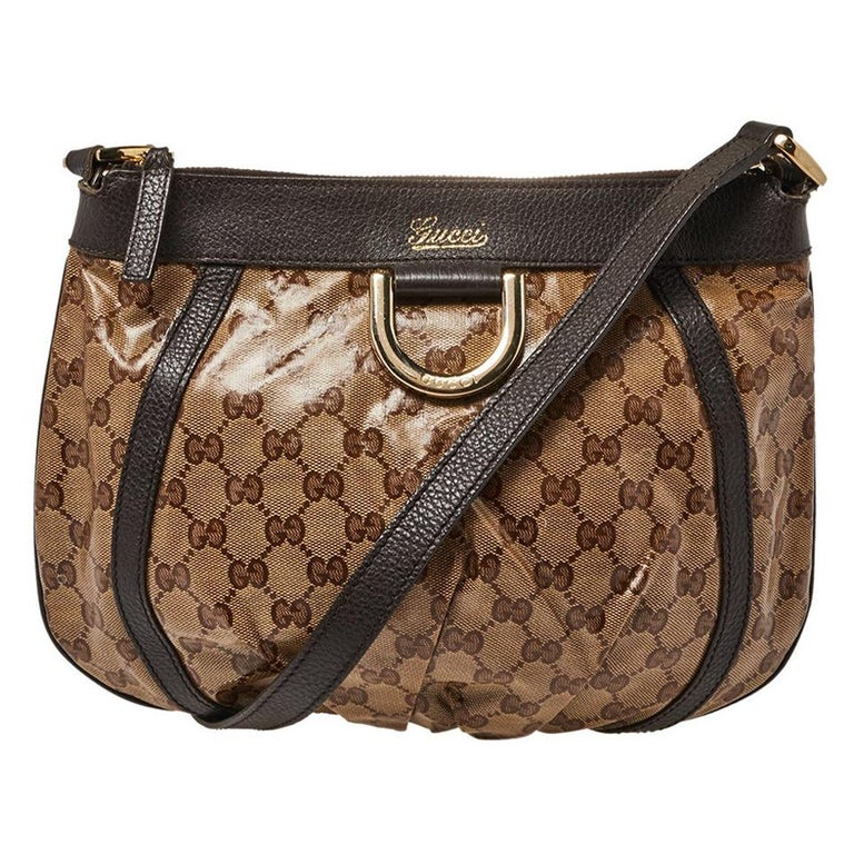 Gucci Beige/Brown Patent Leather and Leather Abbey D-Ring Crossbody Bag For Sale