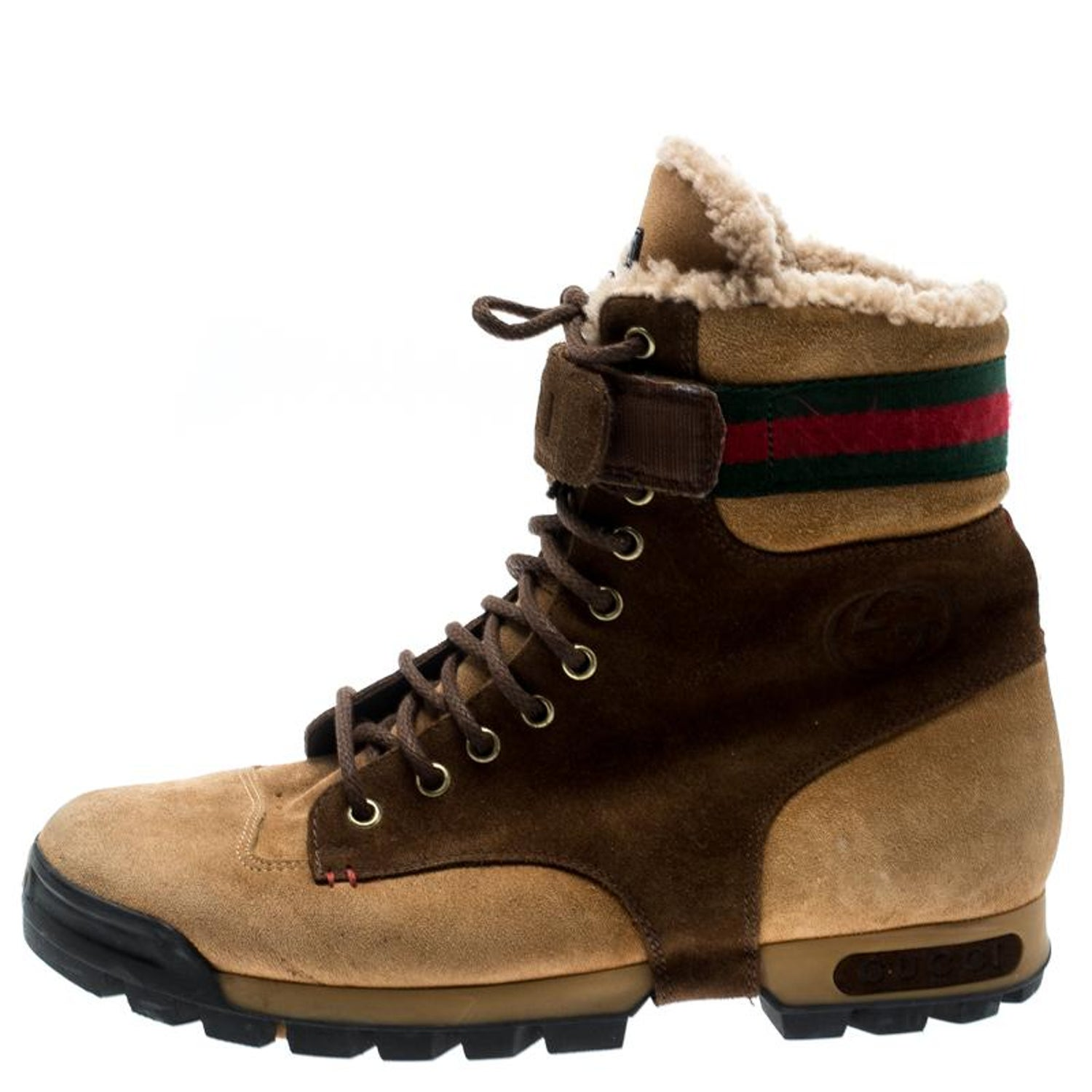 8c08e88c7 Gucci Beige/Brown Suede Lace Up Shearling Lined Combat Boots Size 42 For  Sale at 1stdibs