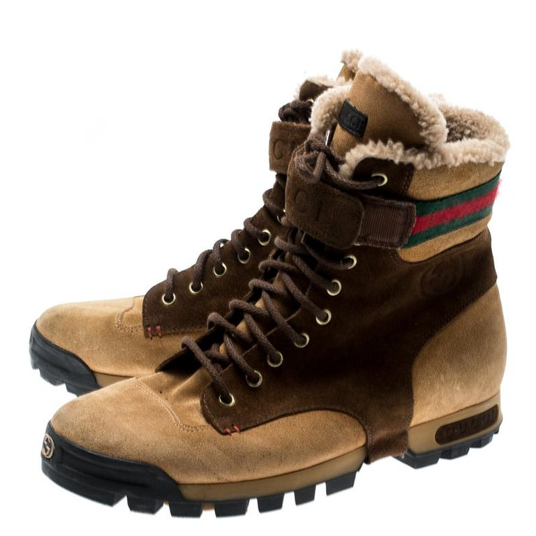 7ab9f263a Gucci Beige/Brown Suede Lace Up Shearling Lined Combat Boots Size 42 For  Sale 1