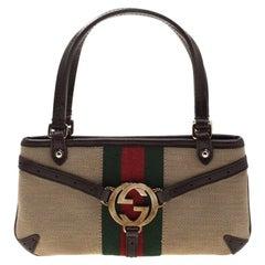Gucci Beige/Brown Web Canvas Interlocking GG Pochette Bag