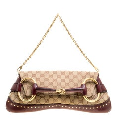 Gucci Beige/Burgundy GG Canvas and Leather Horsebit Studded Chain Clutch