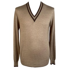 Gucci Beige Camel Hair and Silk Men V Neck Sweater Size M