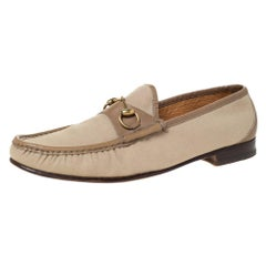Gucci Beige Canvas And Leather Trim Horsebit Slip On Loafers Size 45
