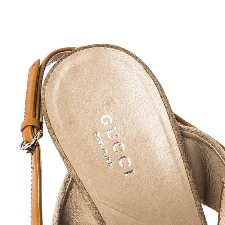 Gucci Beige Canvas Bamboo Horsebit Slingback Sandals Size 40 For Sale 1