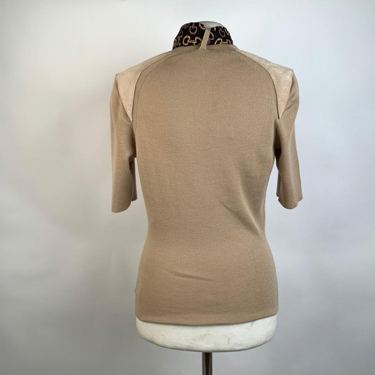 Women's Gucci Beige Cashmere Short Sleeve Jumper Top with Scarf Size S For Sale