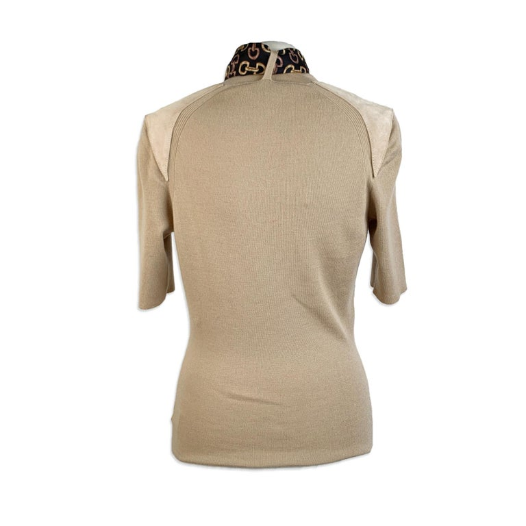 Gucci Beige Cashmere Short Sleeve Jumper Top with Scarf Size S For Sale 1