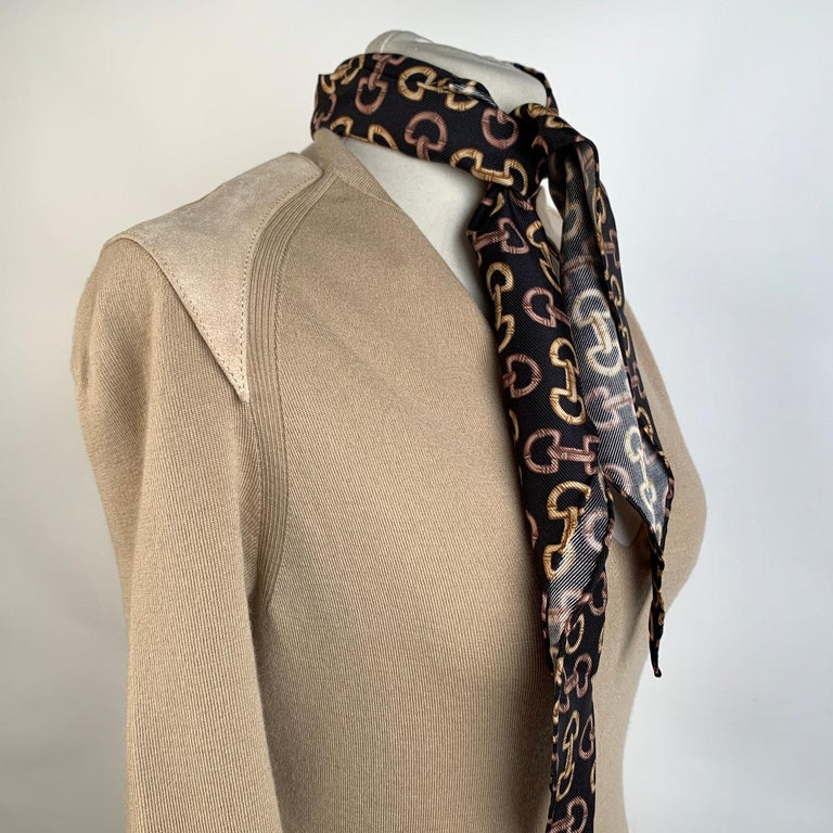 Gucci Beige Cashmere Short Sleeve Jumper Top with Scarf Size S For Sale 3