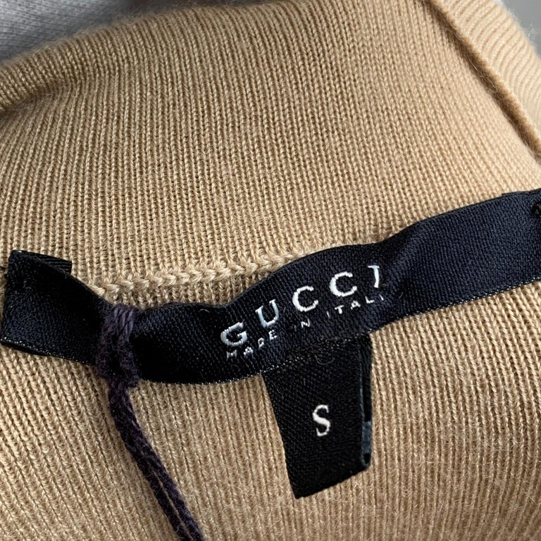 Gucci Beige Cashmere Short Sleeve Jumper Top with Scarf Size S For Sale 4