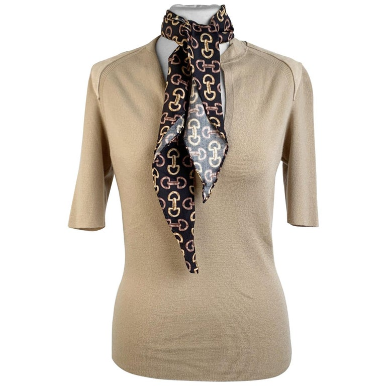 Gucci Beige Cashmere Short Sleeve Jumper Top with Scarf Size S For Sale