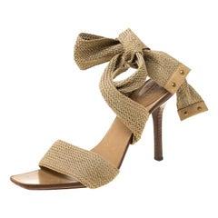 Gucci Beige Cotton Blend Knit Ankle Wrap Sandals Size 40