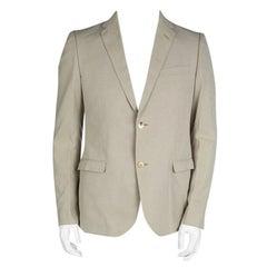 Gucci Beige Cotton Regular Fit Two Button Blazer L