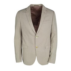 Gucci Beige Cotton Regular Fit Two Button Blazer L