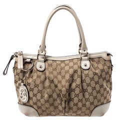 Gucci Beige/Cream Canvas and Leather Sukey Satchel