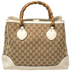 Gucci Beige/Cream GG Canvas and Leather Diana Bamboo Tote