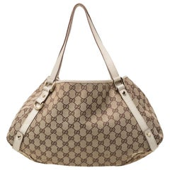 Gucci Beige/Cream GG Canvas and Leather Medium Abbey Shoulder Bag