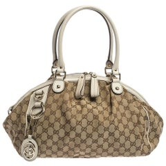 Gucci Beige/Cream GG Canvas and Leather Medium Sukey Hobo
