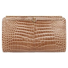 GUCCI beige CROCODILE Clutch Bag VINTAGE