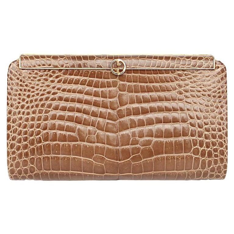 GUCCI beige CROCODILE Clutch Bag VINTAGE For Sale
