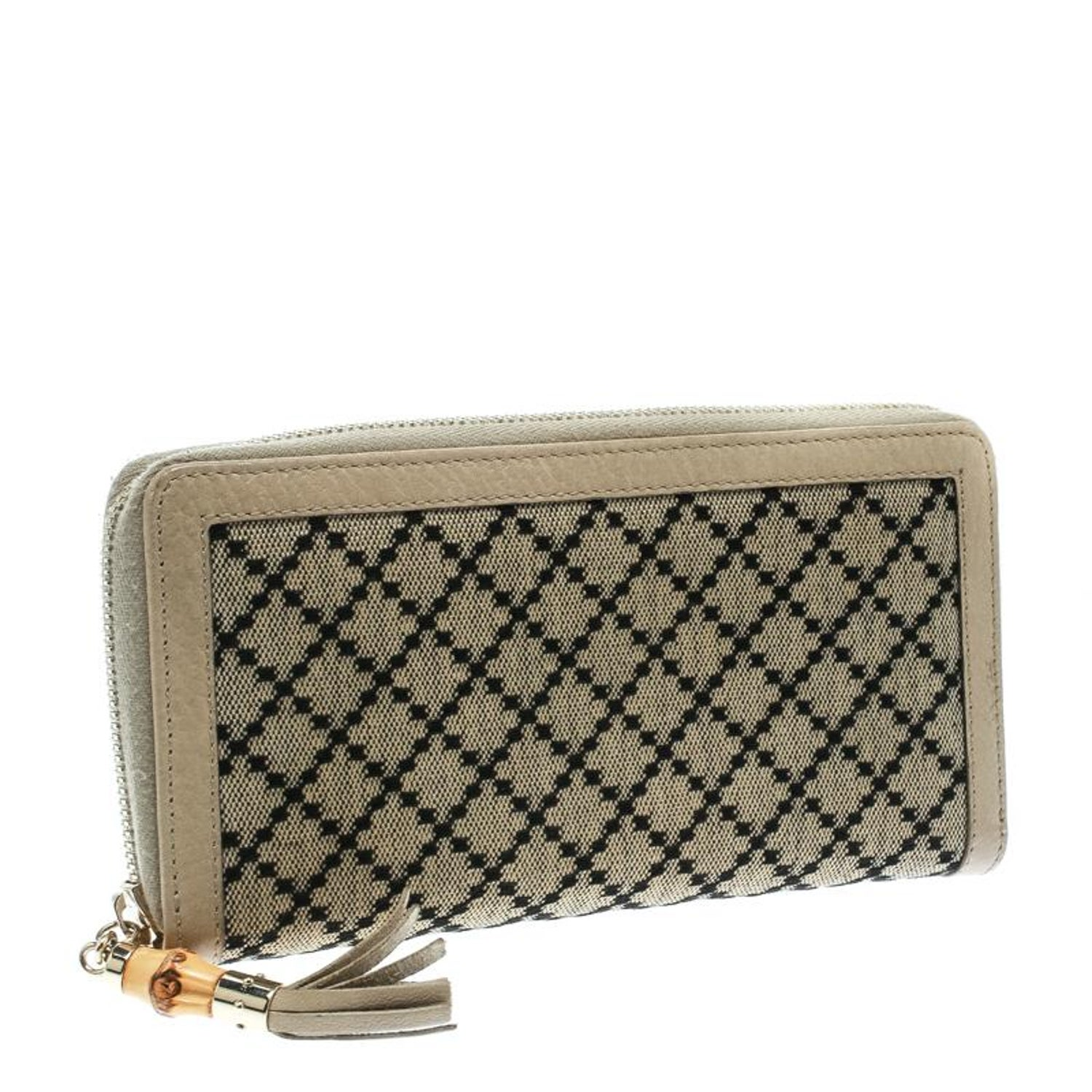 4952b32b48e1 Gucci Beige Diamante Canvas and Leather Bamboo Tassel Zip Around Wallet For  Sale at 1stdibs