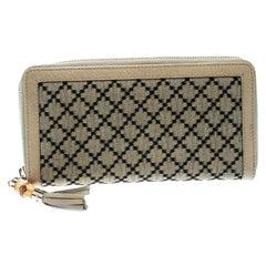 Gucci Beige Diamante Canvas and Leather Bamboo Tassel Zip Around Wallet