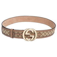 Gucci Beige Diamante Canvas and Leather Interlocking G Buckle Belt 85CM
