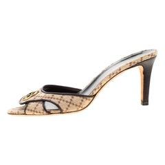 Gucci Beige Diamante Canvas GG Slip On Sandals Size 38