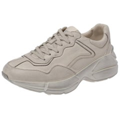 Gucci Beige Distressed Effect Leather Rhyton Sneakers Size 40