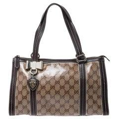 Gucci Beige/Ebony Crystal Coated Canvas Duchessa Satchel Bag